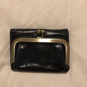 Hobo small black leather wallet
